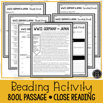 WWII: Germany & Japan Close Reading & Writing Activity (SS5H4, SS5H4a)