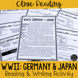 WWII: Germany & Japan Close Reading & Writing Activity (SS