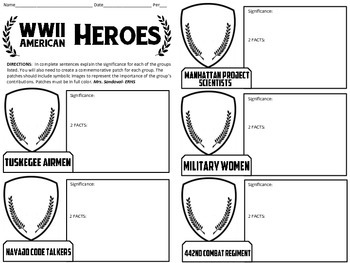 WWII Heroes Graphic Organizer & Commemorative Patches