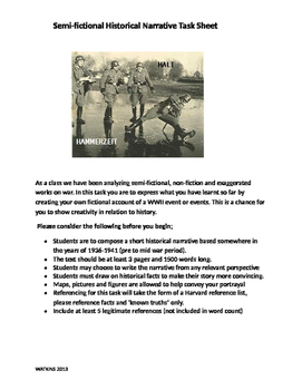 WWII Historical Short Story Assignment