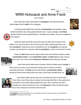 WWII Holocaust & Anne Frank Reading Comprehension & Vocabulary