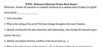 WWII / Holocaust Historical Fiction Book Report