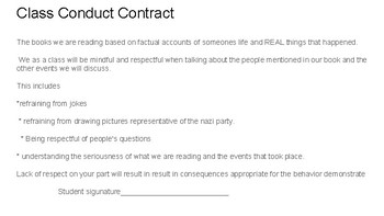 WWII/Holocaust  classroom conduct contract