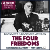 WWII Home Front Four Freedoms Primary Source & Writing Lesson