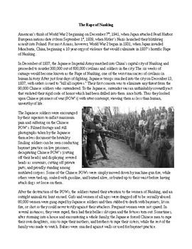 WWII: Japan's Rape of Nanking (Nanjing) During World War II