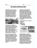 WWII: World War Two Japanese Internment Camp Reading and Qs