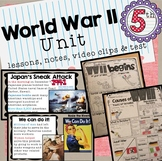WWII Lesson PowerPoints, Doodle Notes, Video Clips and Test WWII Unit