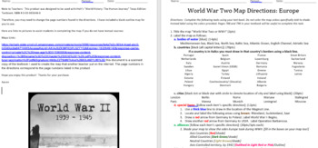WWII Map Activity Worksheet: Europe