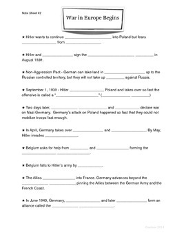 WWII Presentation Note Sheet (2 of 4)