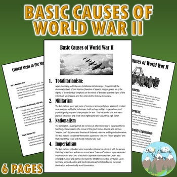 WWII Primary Causes + WWII Secondary Causes + Steps leading to WWII NOTES