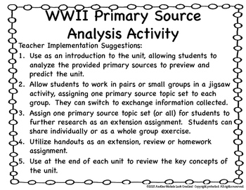 WWII Primary Source Analysis Google Drive Interactive Lesson WW2
