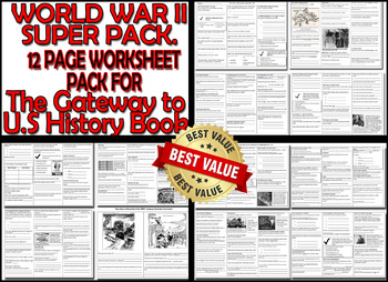 WWII TWELVE PAGE WORKSHEET SUPER PACK - For the Gateway to U.S History Book