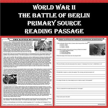 WWII - The Battle of Berlin Primary Source Reading Passage with Worksheet