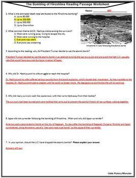 WWII - The Bombing of Hiroshima Primary Source Reading Passage and Worksheet