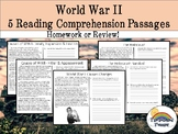 WWII (WW2) Reading Comprehension Packet (homework, review)