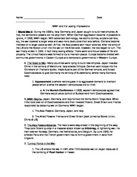 WWII and the Cold War- global history notes/reading/outline