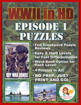 WWII in HD Episode 1 Crossword Puzzle Worksheets