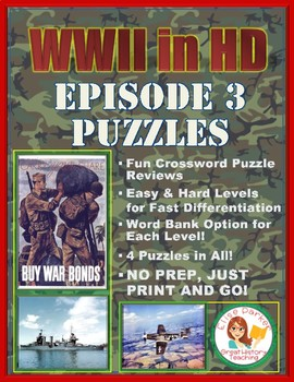 WWII in HD Episode 3 Crossword Puzzle Worksheets