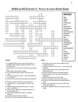 WWII in HD Episode 5 Crossword Puzzle Worksheets