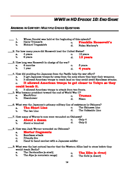 "WWII in HD Worksheets: Episode 10, ""End Game"""