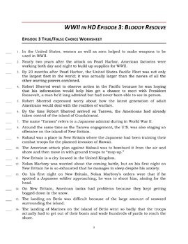 """WWII in HD Worksheets: Episode 3, """"Bloody Resolve"""""""