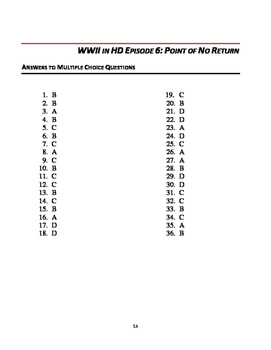 """WWII in HD Worksheets: Episode 6, """"Point of No Return"""""""