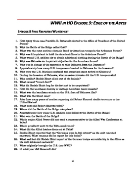 "WWII in HD Worksheets: Episode 9, ""Edge of the Abyss"""