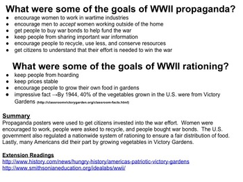 WWII propaganda and rationing