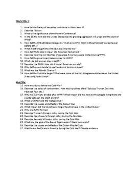 WWII to Cold War Review Sheet
