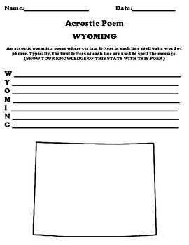 WYOMING Acrostic Poem Worksheet