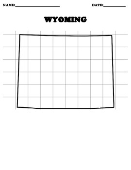 WYOMING Coordinate Grid Map Blank