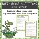 Wacky Animal Adaptations Webquest Reading Research Worksheet Common Core