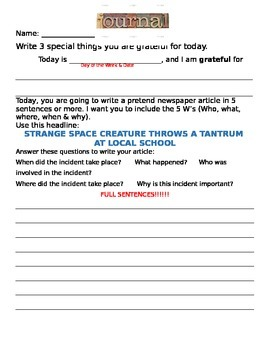 Wacky Article Journal Prompt 3