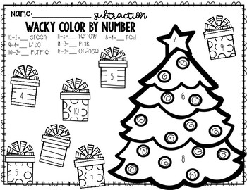 Wacky Color By Number (Winter) Addition and Subtraction