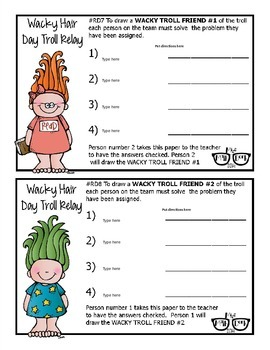 Wacky Hair Day Troll Relay template - Personal Use Only!