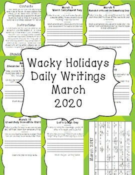 Wacky Holidays Daily Writing March