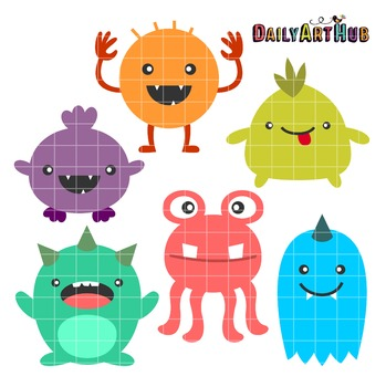 Wacky Monsters Clip Art - Great for Art Class Projects!