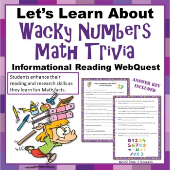 Wacky Numbers Math Trivia - Fun Reading Internet Research Activity
