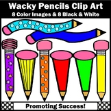 Wacky Pencil Clipart, Back to School Supplies Clip Art SPS