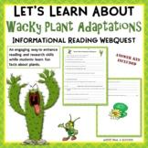Wacky Plant Adaptations - Fun Webquest Reading Internet Research Worksheets