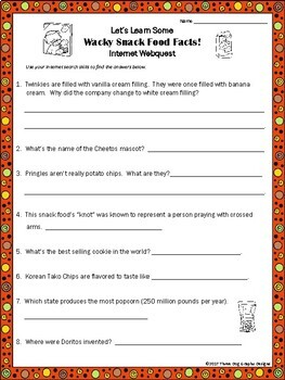Wacky Snack Food Facts - Webquest Reading Internet Research Activity