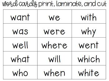 Wacky W Sight Word Bingo *Editable*