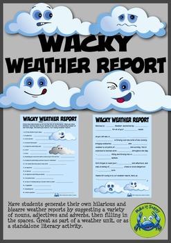 Wacky Weather Report Mad Lib