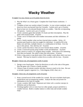 Wacky Weather Tiered Contract