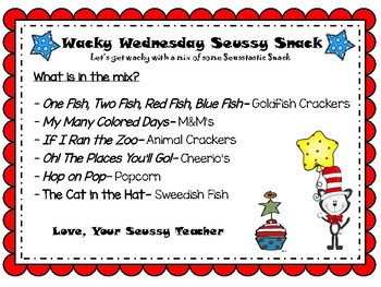 Wacky Wednesday Seussy Snack Freebie