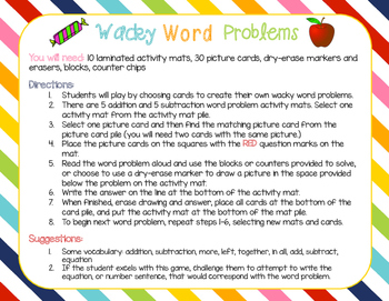 Addition and Subtraction Wacky Word Problems