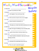 Bicycle Safety Word Scramble