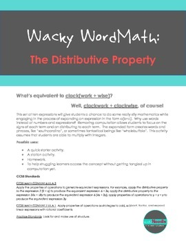 Wacky WordMath:  The Distributive Property