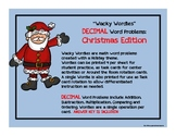 Wacky Wordies:  Decimal Word Problems, Task Cards---  Christmas Edition