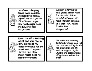 Wacky Wordies Fraction Word Problems:  Christmas Holiday Edition